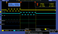 Active transmission mode: Data are received and transmitted by a processor where those are completely reconstructed. The delay coming from that process is one byte. (yellow - data in; light blue - data out)