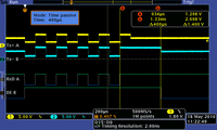 This mode works very similar to the passive mode. The addition is in setting delay after receiving stop bit. Following example shows converter with 400µs delay. (yellow - data in; light blue - data out)